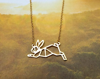 Running Rabbit, Bunny Necklace, Origami necklace, Rabbit necklace, Animal Necklace, Pet Jewelry, Pet Mom, Rabbit Gift, Gift under 30