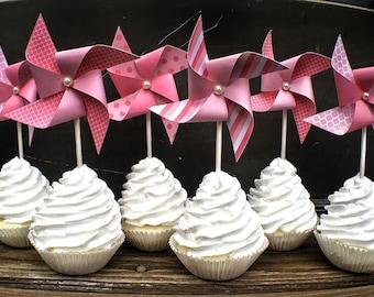 Pinwheel Cupcake Toppers - Pinwheel Cake Toppers - Pinwheels