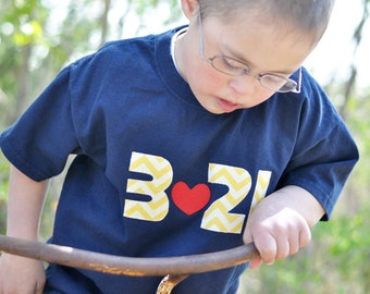 "Down Syndrome Awareness Shirts ~ Girls and Boys, Navy Blue T-shirt with Yellow ""321"" Lettering"