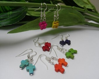 Girls Colored Cross Dangle Earrings, Fashion earrings, Tweens earrings, teens earrings, girls birthday gifts, cross earrngs, dangle earrings