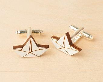 Paper boat cufflinks - Nautical cufflinks - Wood cufflinks - Origami paper boat - Nautical father's day gift - Boat cufflinks - Sea lover
