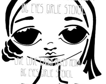 Big Eyes girlie mixed media stencil