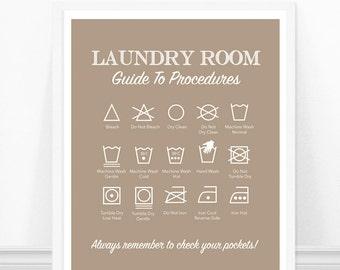 Laundry Symbols Art Print - Laundry Room Art - Laundry Rules - Laundry Room Decor - Cheat Sheet