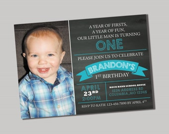 Little Man is Turning One Invitation- PRINTABLE Digital File
