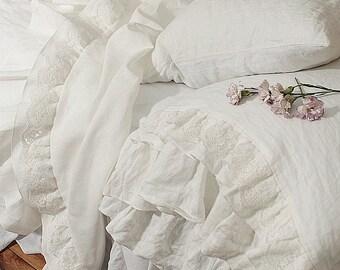 Linen flat sheet 'Grace',Queen Size, King Size,  linen bedding, decorative linen sheet, top sheet