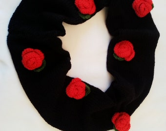 Scarf , Knitted Infinity Scarf , Circle Scarf , Black Scarf , Neck Warmer , Winter Fashion , Gift for her , Scarf with Rose , Red Rose