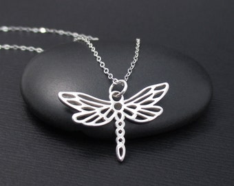 Dragonfly Necklace Sterling Silver Dragonfly Charm Pendant, Dragonfly Jewelry, Insect Jewelry, Nature Jewelry