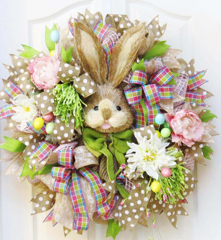 Easter Wreath Bunny Wreath Deco Mesh Easter Wreath Burlap