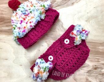 Newborn crochet cupcake outfit, cupcake photo prop, crochet cupcake hat, croxhet cupcake outfit, baby crochet cupcake hat, cupcake hat.