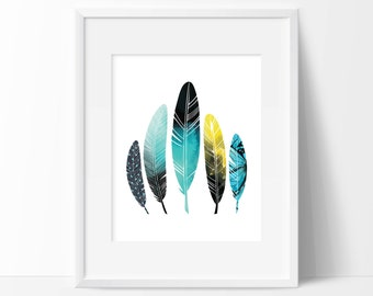Watercolor Feathers Art Print - Wall Art - Home Decor - Office Decor - Office Wall Art