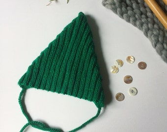 Adult Pixie Hat, knitted, vegan friendly