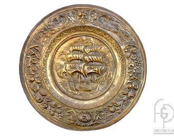 50's Very Large Nautical/Peerage Style Embossed Brass Wall Plate with Galleon Center Medallion.