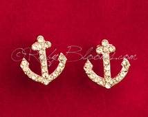 Crystal Champagne Anchor Earrings. Beach Destination Wedding Accessory, Jewelry Earrings, Groom Accessory, Prom Bridesmaid Gift, Ruby Blooms