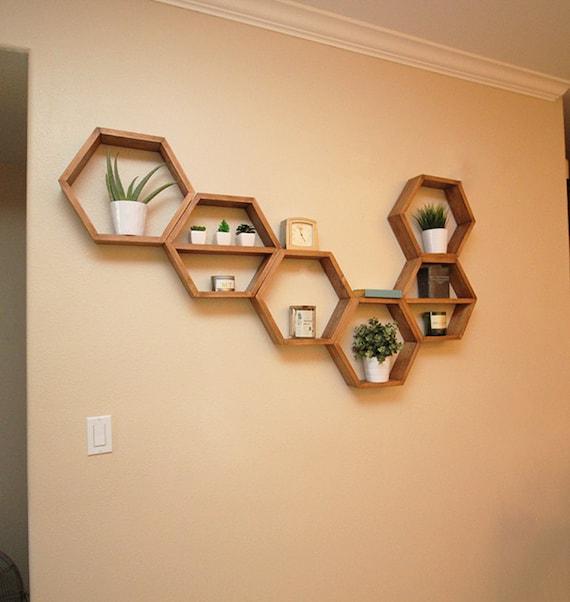 Hexagon Shelf Floating Hexagon Shelves Geometric Wall