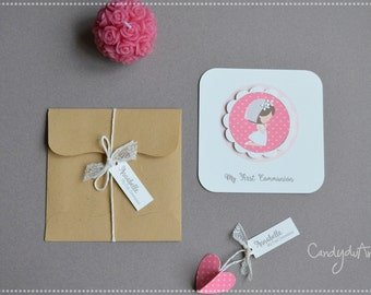 First communion Card Girl-Invitation First Communion Party