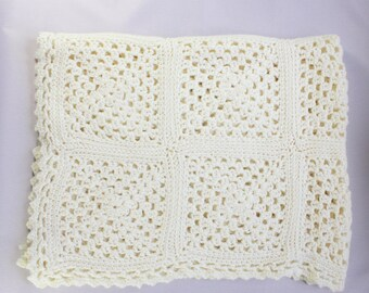 French vintage, crocheted white baby blanket, granny squares with picot edge, newborn gift