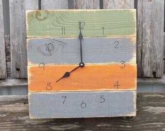 Rustic Pallet Clock, Primitive Wood Clock, Rustic Wall Clock, Fall colored clock, Rustic wood clock, distressed clock, country clock