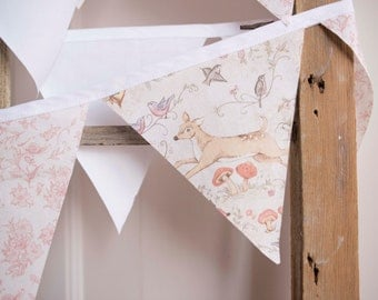 Shabby chic bunting, fabric bunting, woodland creature, deer bunting, pennant flags, fabric banner, baby shower banner, nursery bunting