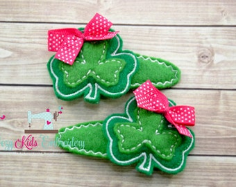 St. Patrick's Day Barrettes, St. Patrick's Day Hair Clips, Clover Barrettes, Clover Hair Clip, Applique, Embroidery