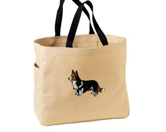 Corgi Tote Bag. Embroidered Corgi Tote. Cute Dog Pet Tote Bag. Corgi Handbag. Corgi Purse. SM-B0750