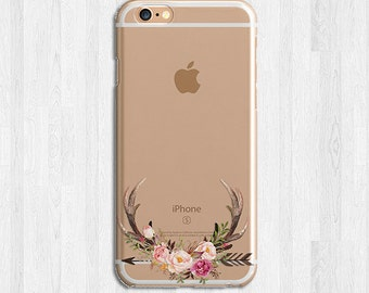 Floral Antlers Deer For iPhone 6s, iPhone 6 Plus, iPhone 7, Flowers Galaxy S6, S7 Edge, Note 7 Phone Case