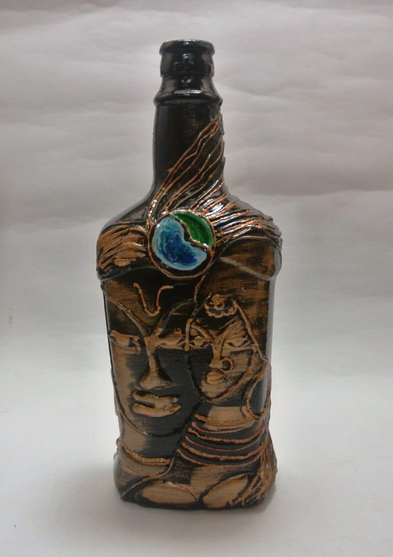 Hand painted wine bottle vase flower pot candle stand for Wine bottle flower vase