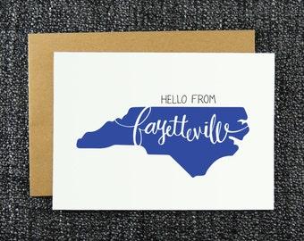 Hello from Fayetteville Note Card, Fayetteville Greeting Card, Hello Fayetteville, NC