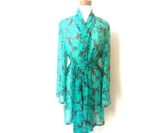 Clementine Robe in Teal Floral Print