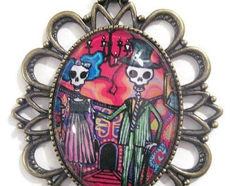Retro vintage  necklace mexican skeleton dia de los muertos rockabilly pin up gothic halloween