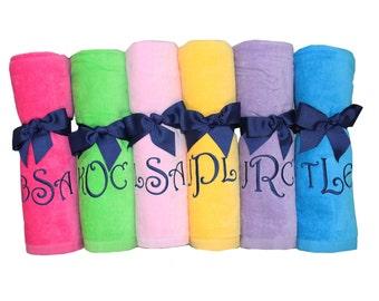 Monogrammed beach towel, personalized beach towel, bridesmaid beach towel, wedding party gift, custom beach towel, destination wedding gift