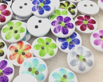 100pcs Mix Sunflowers Wood Buttons 15mm Sewing Craft Lots WB315