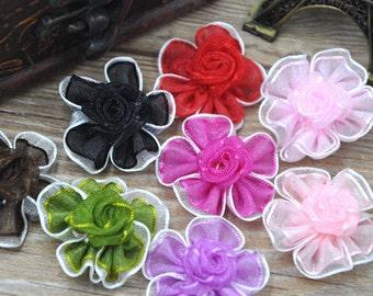 40pcs U pick 2Tone Organza flowers wedding/Appliques/Craft DIY Wedding A079