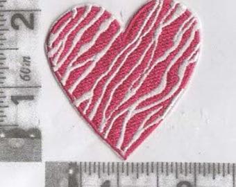 Pink & White animal stripe heart iron on patch