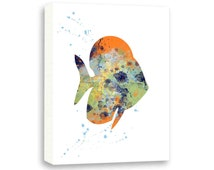 Fish Painting, Watercolor Fish Art, Nautical Bathroom Art, Limited Edition Gallery Wrapped Canvas - NS12003C