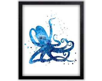 Octopus Wall Art, Octopus Art, Sea life Art, Watercolor Painting, Limited Edition Art Print - NS6001C