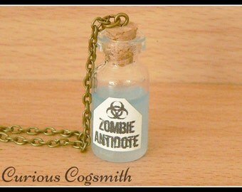 Zombie Antidote Necklace - Zombie Antidote Pendant - Zombie Potion Bottle - Potion Bottle Necklace - Potion Necklace - Potion Pendant