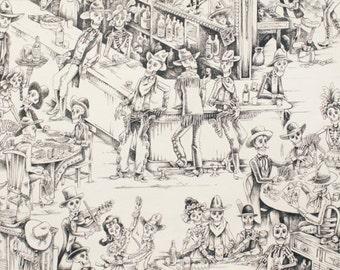 Deadwood Saloon in Tea/ Black by Alexander Henry ONE YARD