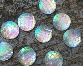 12mm Clear AB Scale Cabochon