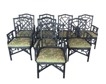 Set of 8 Mcguire Chairs Chinese Chippendale