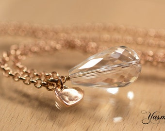 Rock crystal in rose gold plated