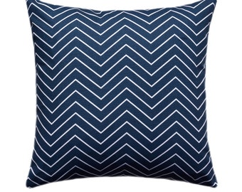 Navy Chevron Throw Pillow Cover, Navy and White Pillow Cover, Chevron Pillow, Chevron Premier Navy Pillow Case, Chevron Pillow, Navy Chevron