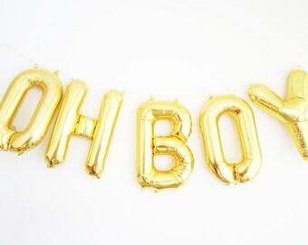 OH BOY balloons - gold mylar foil letter balloon banner kit