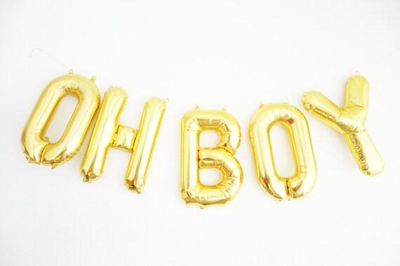 oh boy balloons gold mylar foil letter balloon banner kit