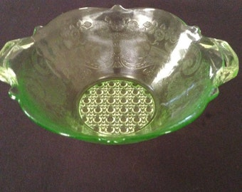 Vintage Green Glass Lancaster Bowl - Landrum Pattern