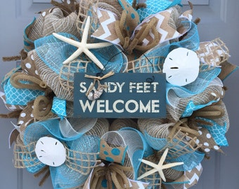 Sandy Feet Welcome Beach Burlap/Deco Mesh Wreath with Sea Shells, Seashell Wreath, Beach Wreath, Starfish Wreath