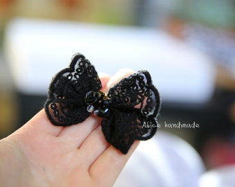 Black Lace Bow Hair Clips. Alligator Hair Clips. Ready to ship.