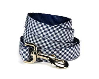 Navy Gingham Dog Leash, Navy Blue Gingham Dog Leash, Checkered Dog Leash, Plaid Dog Leash, Male Dog Lead, Heavy Duty Dog Leash