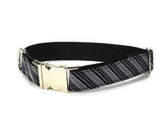 Black And Gray Stripe Dog Collar, Striped Dog Collar, Black Striped Collar, Preppy Dog Collar, Black Dog Collar, Stripe Dog Collar