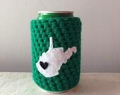Marshall University Football | Huntington, West Virginia Crochet Beer Cozy, Coffee Cup Cozy, Coffee Sleeve, Bottle Cozy