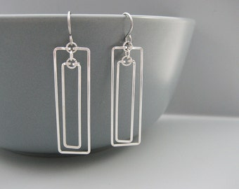 Rectangle Earrings - silver geometric jewelry, math teacher and engineer gifts - Linked